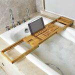 Multifonctions Toilettes Rack Salle de Bains Soaking Rack Bambou Baignoire Rack télescopique, Style: Moyen-Bande Huangchuxin