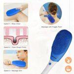 Brosse électrique de douche de corps de massage de poignée longue, silicone avec le nettoyage de vibration de Sonic, IPX 7, brosse de nettoyage multifonctionnelle imperméable et rechargeable de corps