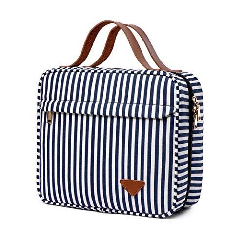Cosmétique sac de rangement en toile de maquillage Organisateur bleu Sac de toilette White Stripes étanche multi compartiments Hanging Portable Voyage pour la beauté