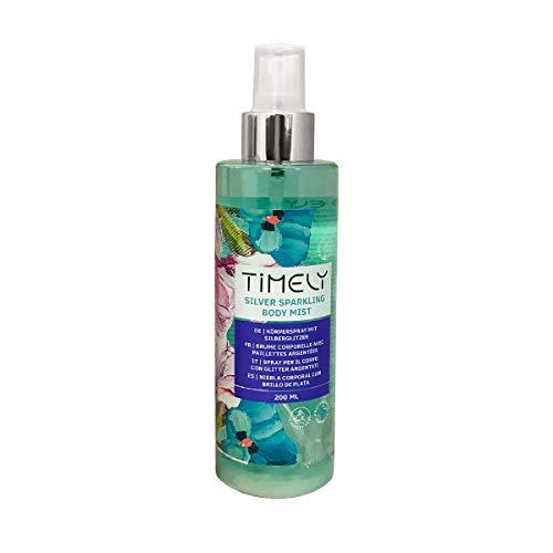 Timely – Brume pour le corps étincelante argentée au parfum sensuel, 200ml