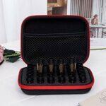 30 bouteilles 1-3ML durables avec coque dure en mousse EVA organisateur d'insertion en mousse sac d'huile essentielle pour vernis à ongles de beauté compact et léger pour les voyages d'affaires(red)