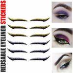 Eyeliner Autocollant RéUtilisable – 6 Paires D'Autocollants AdhéSifs RéUtilisables pour Eye-Liner – Maquillage Fard à PaupièRes Visage Oeil de Chat Smokey Bande CosméTique (Bleu + vert)