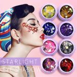 Glitterstar 8 Couleurs Chunky Glitters pour cheveux et ongles, Chunky Sequins Glitter Cosmetic Glitters Craft Set, Face Body Hair Nail Art Festival Party et plus, 3g / boîte