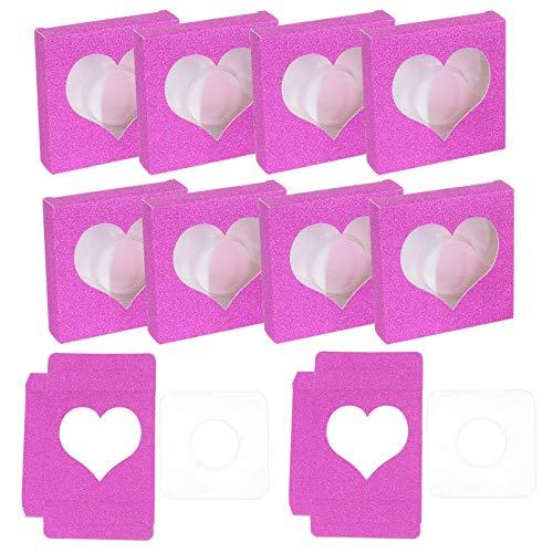 Minkissy 50 Pièces Faux Cils Boîte Cils Boîte Vide De Stockage Faux Cils Boîte En Plastique Cils Boîte Cils Titulaire Cas pour Femmes Filles Rose