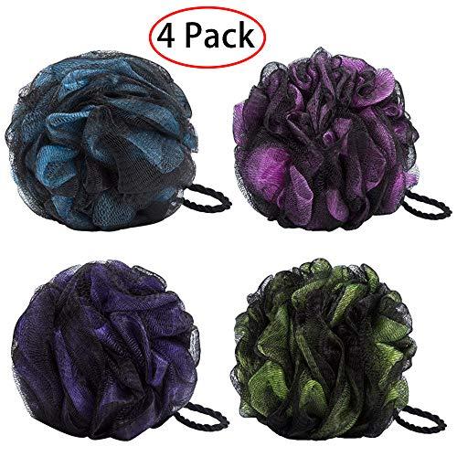 4 Pack Bain Douche Éponge JollyJelly Bain De Mousse Loofahs Brosse À Nettoyer Pour Femmes Hommes Exfolier La Peau Nettoyer La Peau Apaisante (Mix-4 Pack)