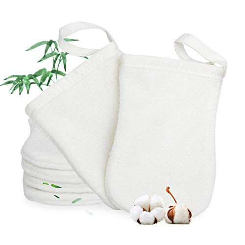 Gants de bain en fibre de bambou丨Gants de nettoyage pour le visage, les yeux et le corps丨Pas facile d'élever des bactéries丨Essuyez doucement le visage et le corps Nettoyage efficace 6 pcs