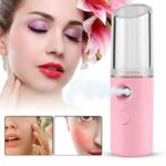 Mini pulvérisateur portatif de brume de Nano de Mister facial Rechargeable avec la forme de rouge à lèvres Vapeur facial ionique pratique pour le SPA facial(rose)