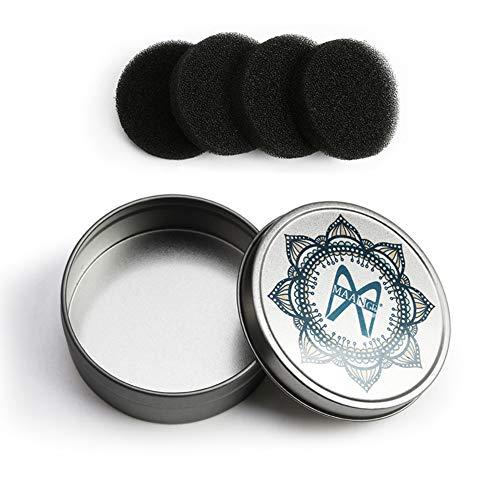 PanDaDa Kit de solvant de couleur de brosses de maquillage, outil de nettoyage de brosses, boîte en aluminium de nettoyage avec 4pcs éponge de nettoyant de brosse de maquillage
