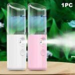 POHOVE 5V 1A Brume Pulvérisateur, USB Rechargeable Visage Hydratante Visage Rouge à Lèvres Forme Mini Bureau Brume Pulvérisateur – Blanc, Free Size