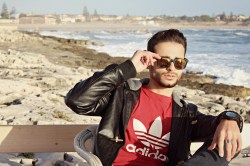 CORRADO FIRERA, PURE LEATHER JACKET, ADIDAS, CASUAL OUTFIT, RAYBAN