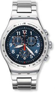 Swatch Orologio Unisex Cronografo al Quarzo con Cinturino in Acciaio Inox – YOS455G