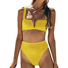Rawdah- Sexy Donne Bikini Impostato,2pcs Gatto Costume da Bagno Bottone a Maglia Sportivo Bikini Impostato Spingere su Mare Push Up Costumi da Bagno Swimwear Swimsuit