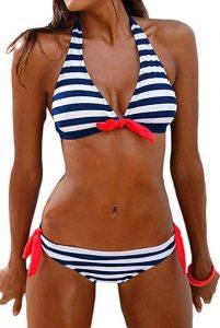 Costumi da Bagno Donna Due Pezzi Mare Push up Bikini Donna Set Striped Alta Vita Bikini in Velluto Costume da Bagno Swimwear Costumi Balneari Rawdah-