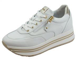 Nero Giardini Skipper Bianco oxigen Platino Sneakers Donna in Pelle Bianca Zeppa Media