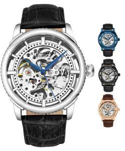 Stuhrling Originale orologio automatico da uomo, quadrante scheletro con cinturino in pelle, serie 3933