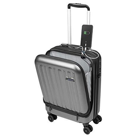 Valigia Bagaglio a Mano Tasca porta PC Trolley Cabina Bagaglio Rigido e Leggero 4 Ruote Doppie Giro 360º Lucchetto TSA Sulema USB (Nero)