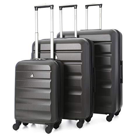 Aerolite - Set di 3 Trolley in ABS - Valigie rigide e leggere con 4 ruote - 55cm Bagaglio a mano + Bagaglio medio 69cm + bagaglio grande 79cm - Grigio Carbone, valigie da viaggio