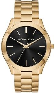 Pista sottile Michael Kors con cinturino in acciaio color oro per uomo MK8621