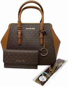 MICHAEL KORS Charlotte Large Satchel Shoulder Handbag Crossbody Leather Bundled with Wallet and Removable NL Silk Skinny Scarf (Brown Signature)