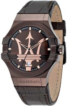 Orologio da uomo, Collezione Potenza, movimento al quarzo, tempo e data , in acciaio, PVD marrone e cuoio - R8851108011