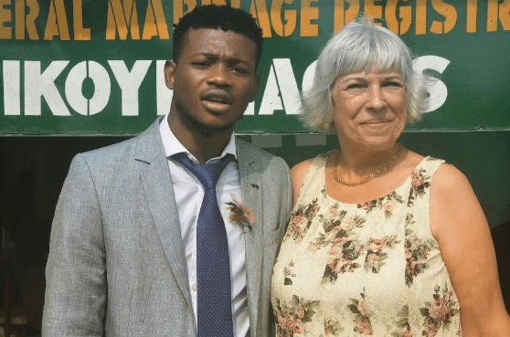 Young Nigerian celebrates 6 years of marriage with his old white wife (See Photos)