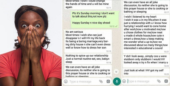 read this annoying chat a Nigerian married man had with his ex about his wife. (see Screenshots)