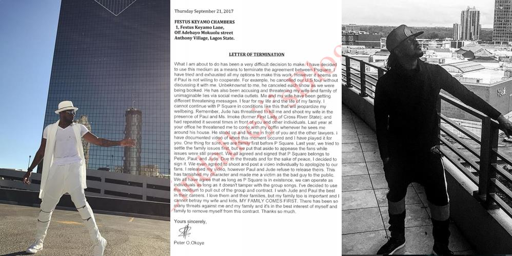 It is Official, P-Square is no more – Peter Okoye sends letter of termination of contract to their lawyer