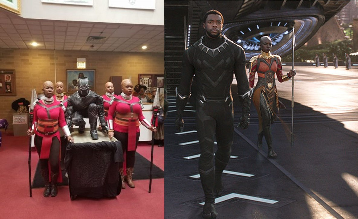 Pastor and his choristers make grand entrance into church in Black Panther's outfits, people react (Screenshots)