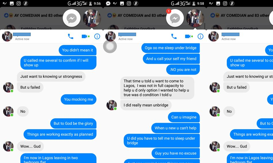 Nigerian man shares screenshots of chat with friend who told him to go and sleep under the bridge when he came to Lagos, now he stays in two bedroom flat while his friend still lives in one room apartment