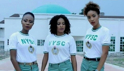 Female NYSC members turn their Khaki to bum shorts and used it to rock the NYSC crested vest (Photo)