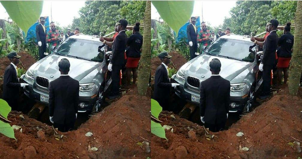 Nigerian man reveals why he buried his father in a N32M BMW Jeep