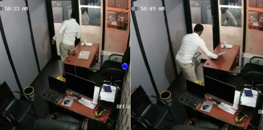 Guest caught on CCTV stealing Macbook Pro at City FM Lagos (Video)