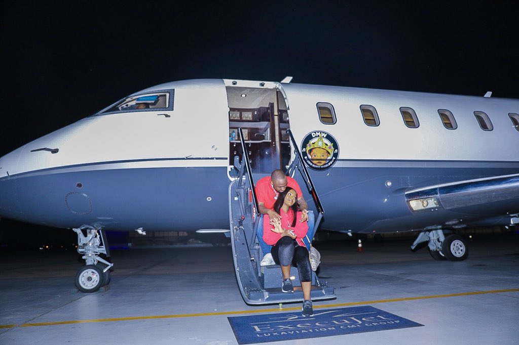 Davido shares photo with Chioma from his first trip on his private jet