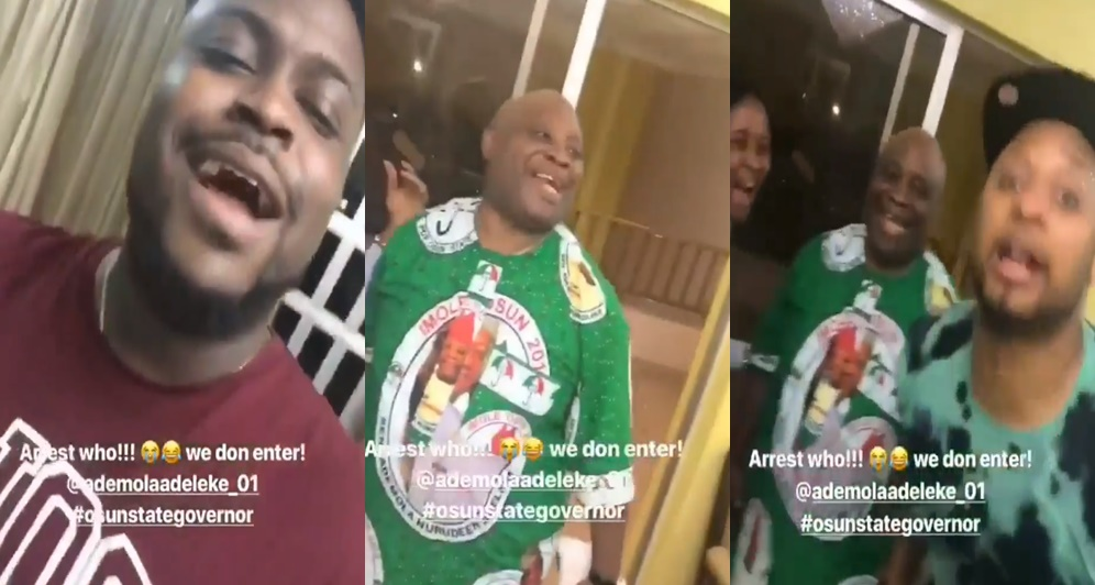'Who dem be' – Senator Adeleke, his son, Bred and nephew, Adewale dare the police  (Video)