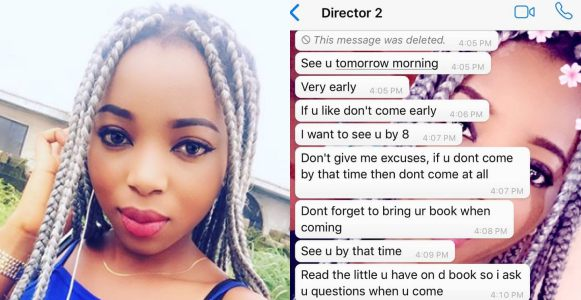 Nollywood actress calls out married movie director demanding s*x for work, shares chat screenshots