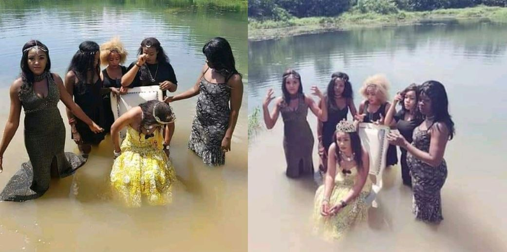 Photos showing bridal shower done inside a stream go viral on social media