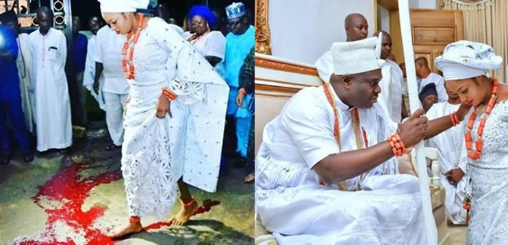 Ooni reveals why he married a prophetess as she crosses over blood as part of the marriage rites