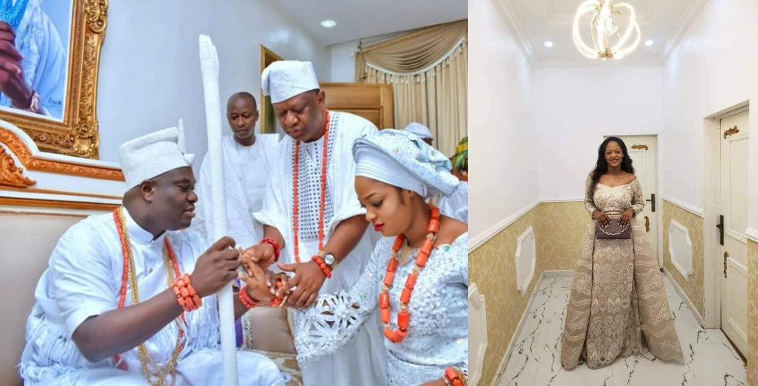 Wedding photo of the Ooni of Ife Oba Adeyeye Ogunwusi with his new bride, evangelist Naomi Oluwaseyi