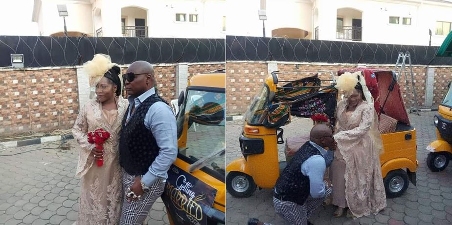 Charly Boy Holds A Low Key Wedding With His Wife Diane Oputa After 40 Years Together, Arrive Wedding Venue In Keke (Photos)
