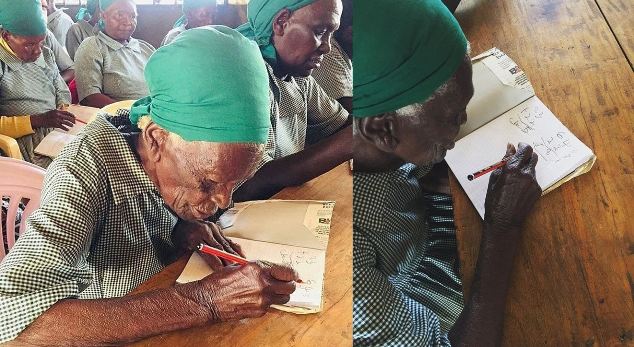 Image result for 95-year-old woman enrolls in school to learn to read and write (photos)
