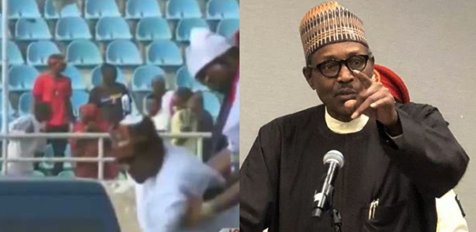The moment President Buhari slipped and almost fell to the ground at the APC presidential rally in Kogi (Video)