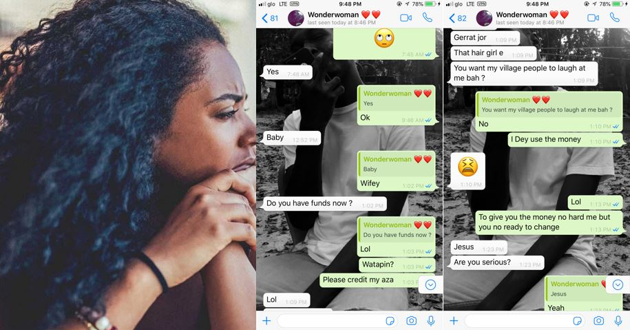 Guy shares WhatsApp conversation between him and his girlfriend after he told her he doesn't have money for her hair