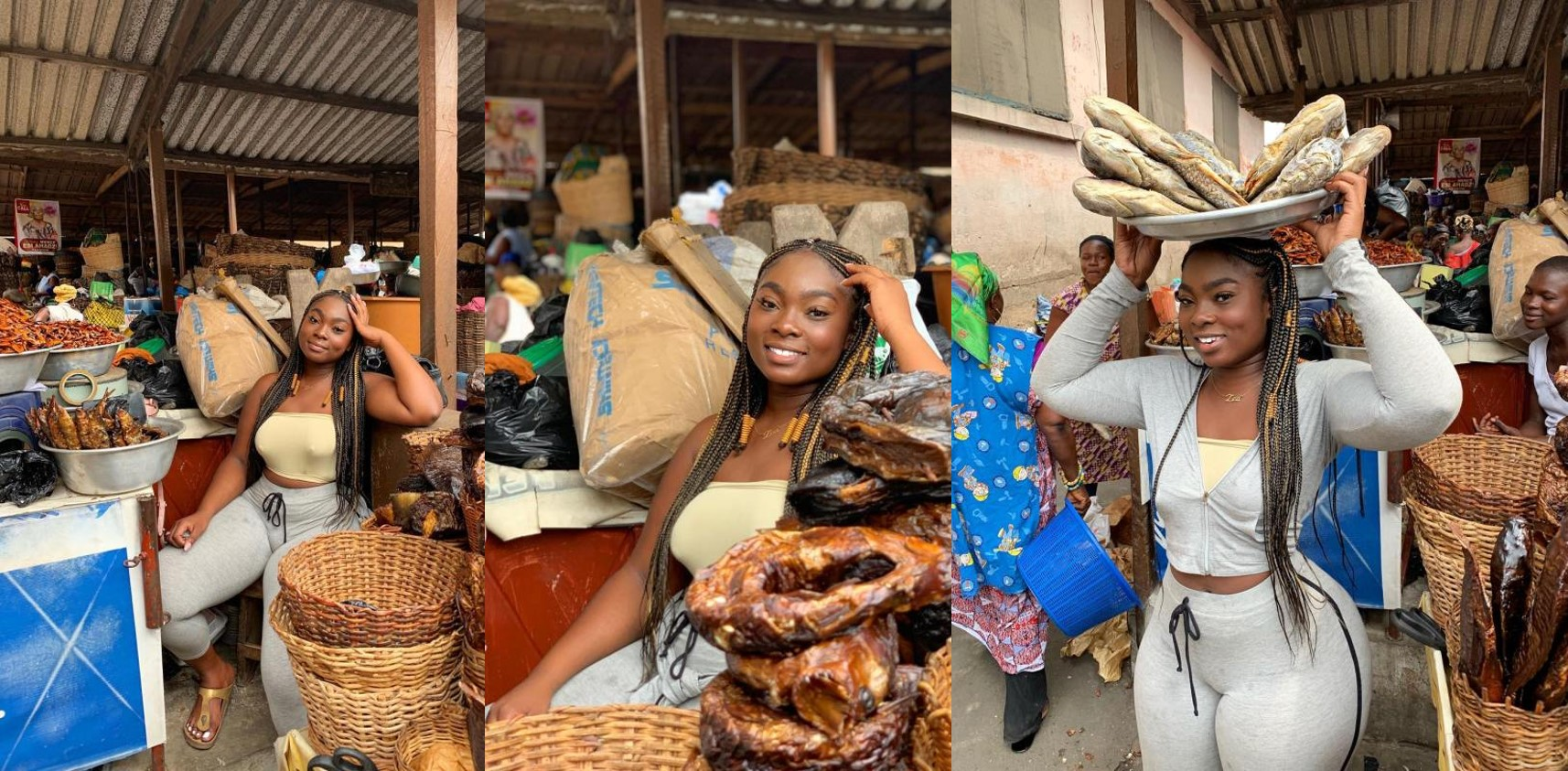 Ghanaian slay queen selling fish breaks the internet (Photos)