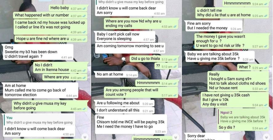 Screenshots of chat between a guy and his cheating girlfriend who locked him out and went clubbing overnight with another guy thinking he traveled but his trip was cancelled
