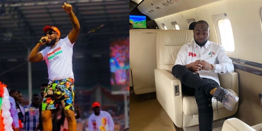 I Am Not A Party Man –  Davido Says While On His Way To PDP Enugu Rally, Rocks PDP Shirt
