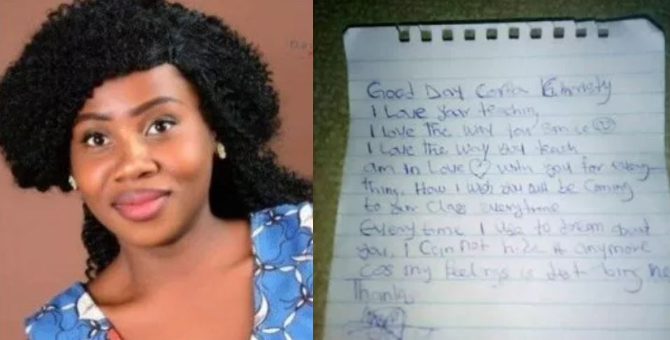 Beautiful corps member shares love letter she got from a JSS2 male student