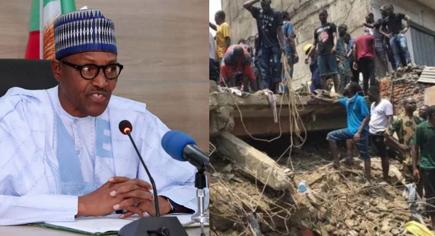 What President Buhari said about the Lagos school collapsed building