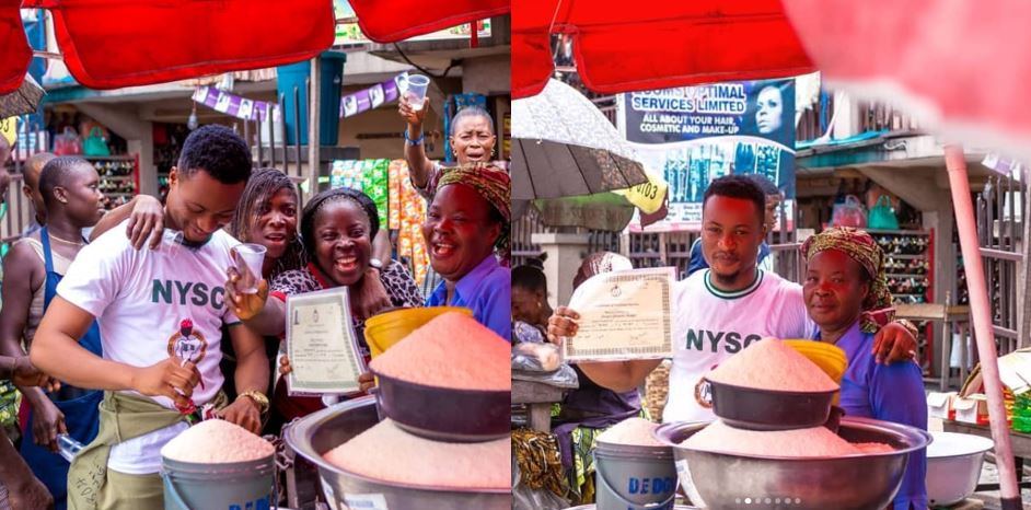 Corps Member Celebrates With Mother At The Market After Passing Out