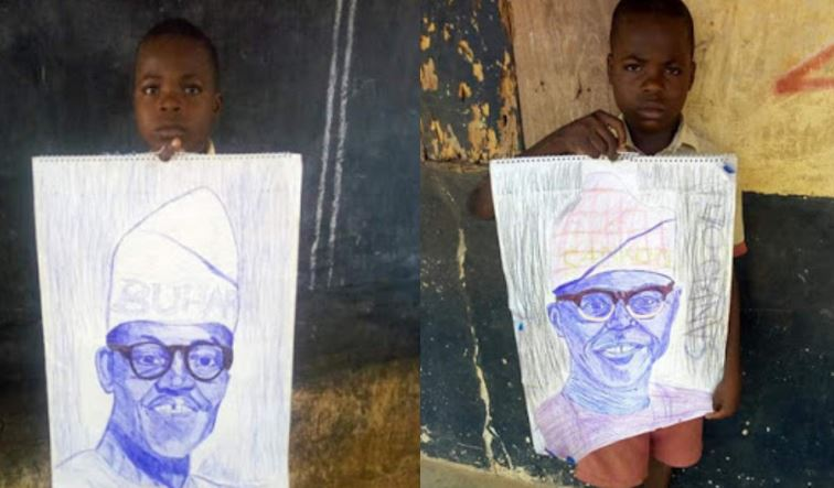 Primary school pupil celebrated for sketching President Buhari and Sanwo-Olu with a pen (Photos)
