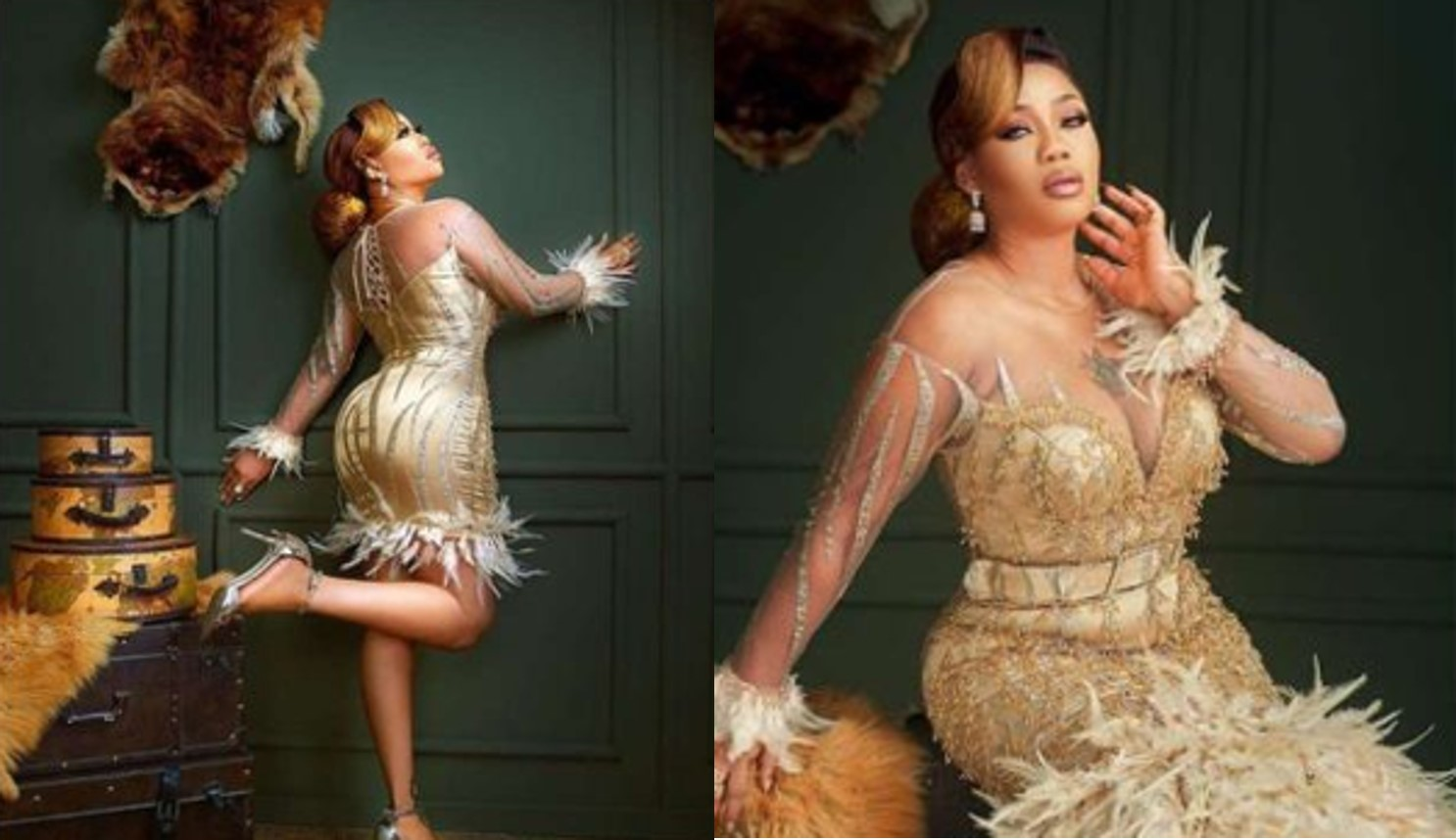 Toyin Lawani celebrates 37th birthday in beautiful gold dresses